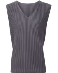 Homme Plissé Issey Miyake - Pleated V-neck Jersey Tank Top - Lyst