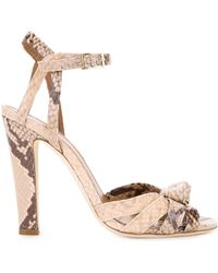Scanlan Theodore - Snakeskin Effect Knot Front Sandals - Lyst