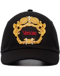 Versace Black Blasone Baroque Embroidered Cotton Cap
