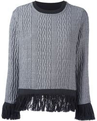 Christian Pellizzari - Cable Knit Fringed Jumper - Lyst