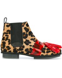 House of Holland | Leopard Print Tasseled Chelsea Boots | Lyst