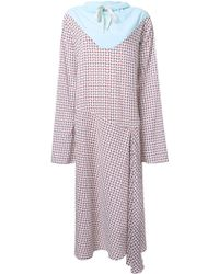 N-Duo - Houndstooth Drawstring Neck Dress - Lyst