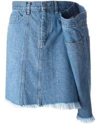 Facetasm - Drape Detail Denim Skirt - Lyst