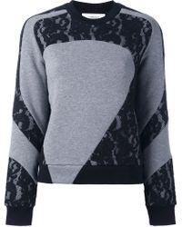 Carven - Lace Panel Sweatshirt - Lyst