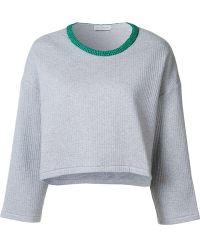 Vika Gazinskaya - Contrast Collar Cropped Sweatshirt - Lyst