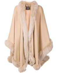 Sofia Cashmere - Trim-Detail Cashmere and Fox Fur-Trim Oversized Coat - Lyst