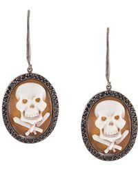 Amedeo - Embossed Skull Earrings - Lyst