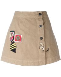 Mr & Mrs Italy - Patches Buttoned Denim Skirt - Lyst