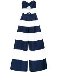 Carolina Herrera - Strapless Striped Jumpsuit - Lyst