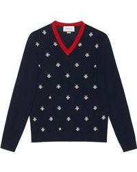 Gucci - Pull à col en V en laine avec abeilles et étoiles - Lyst