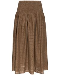 Marysia Swim - Abacos Embroidered Smocked Cotton Skirt - Lyst