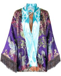 Rianna + Nina - Embroidered Fringed Kaftan Robe - Lyst