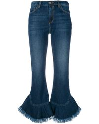 Pinko | Flared Fringe Cuffed Jeans | Lyst