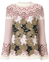 Moncler Gamme Rouge - Patterned Jumper With Leaf Overlay - Lyst
