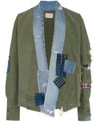 Greg Lauren - Denim Collar And Raw Hem Cotton Jacket - Lyst
