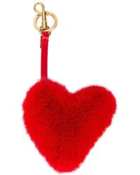 Anya Hindmarch - Red Fur Heart Bag Charm - Lyst