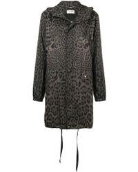 Saint Laurent - Leopard Print Hooded Parka - Lyst