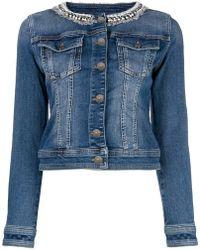 Twin Set - Embellished Collar Denim Jacket - Lyst