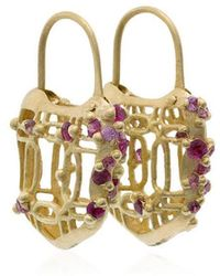 Polly Wales - 18k Gold And Pink Sapphire Padlock Earrings - Lyst