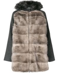 P.A.R.O.S.H. - Fur Panelled Jacket - Lyst