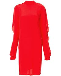 Strateas Carlucci - Exposed Orchid Ruffled-sleeve Dress - Lyst