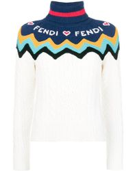 Fendi - Logo Colour-block Jumper - Lyst
