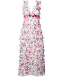 Giamba   Printed Flounce Long Dress   Lyst