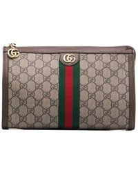 Gucci - GG Logo Leather Makeup Bag - Lyst