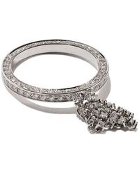 Maison Dauphin - 18kt White Gold Full Pave Diamond Fluid Captured Ring - Lyst