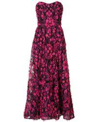 Marchesa notte - Floral Embellished Long Dress - Lyst