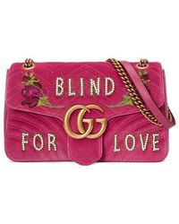 59222ff0333 Gucci - Fuchsia Pink GG Marmont Medium Shoulder Bag - Lyst