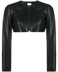 Pinko - Cropped Faux Leather Jacket - Lyst