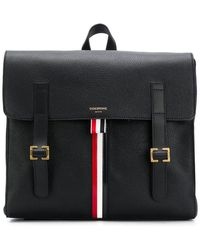 6703db60b542 Thom Browne Black Pebbled Leather Backpack in Black for Men - Lyst