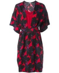 Issa - Floral Print Belted Dress - Lyst