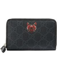 bd51cf58e42818 Gucci Wolf Print Gg Supreme Wallet for Men - Lyst