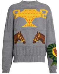 Burberry - Equestrian Intarsia Cotton Wool Sweater - Lyst