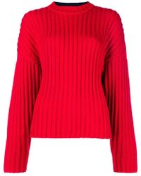 Jil Sander Navy - Bicolour Cable Knit Sweater - Lyst