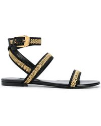 Versace - Flat Embroidered Sandals - Lyst