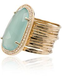 Jacquie Aiche - Chalcedony Diamond 14kt Gold Cocktail Ring - Lyst