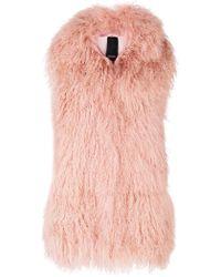 Numerootto - Fur Detail Sleeveless Coat - Lyst