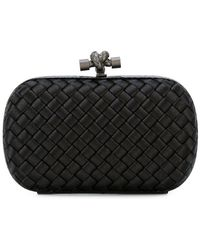 Bottega Veneta Knot Satin And Water-snake Clutch in Natural - Lyst 272581b68d413