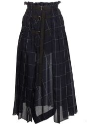Sacai - Check Pleated Wrap Midi Skirt - Lyst
