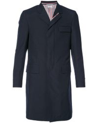 Thom Browne - High Armhole Chesterfield Coat With Red, White And Blue Selvedge In Navy School Uniform Plain Weave - Lyst