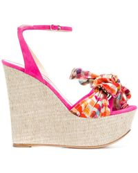 Casadei - Checked Wedge Heels - Lyst