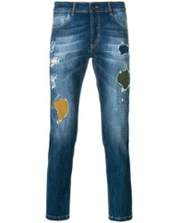 Entre Amis   Distressed Straight-leg Jeans   Lyst