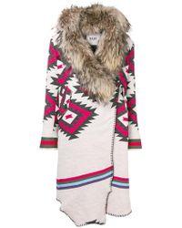 Bazar Deluxe - Racoon Fur-trimmed Cardi-coat - Lyst