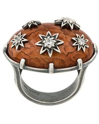 Bottega Veneta - Brown Antique Silver Stellular Ring - Lyst