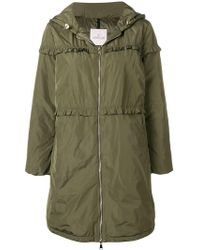 Moncler - Ruffle Trim Padded Coat - Lyst