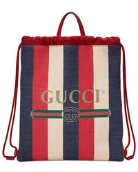 66d143cac3f0 Gucci Ghost-print Canvas Backpack in Blue for Men - Lyst