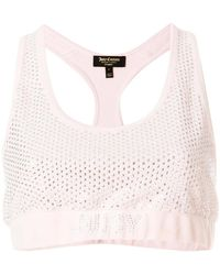 Juicy Couture - Swarovski Embellished Velour Crop Top - Lyst